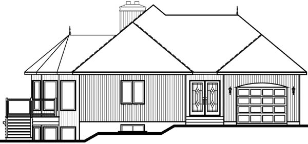 Bungalow, Contemporary, Craftsman House Plan 65390 with 3 Beds, 3 Baths, 1 Car Garage Rear Elevation