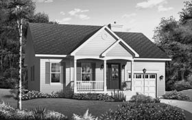 One-Story, Ranch House Plan 65392 with 2 Beds, 1 Baths Elevation