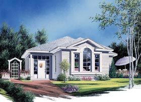 European House Plan 65393 with 2 Beds, 1 Baths Elevation