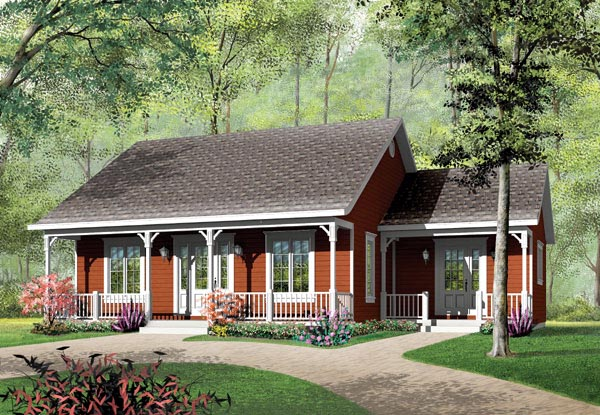 Bungalow, Cabin, Ranch House Plan 65395 with 3 Beds, 1 Baths Front Elevation