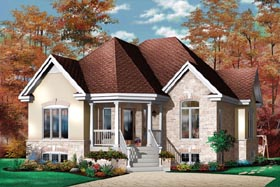 European House Plan 65397 with 2 Beds, 1 Baths Elevation