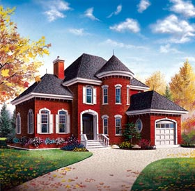House Plan 65402 | European, Victorian Style House Plan with 1972 Sq Ft, 3 Bed, 2 Bath, 1 Car Garage Elevation