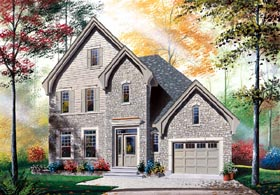 House Plan 65405 | European Traditional Style Plan with 1644 Sq Ft, 3 Bedrooms, 2 Bathrooms, 1 Car Garage Elevation