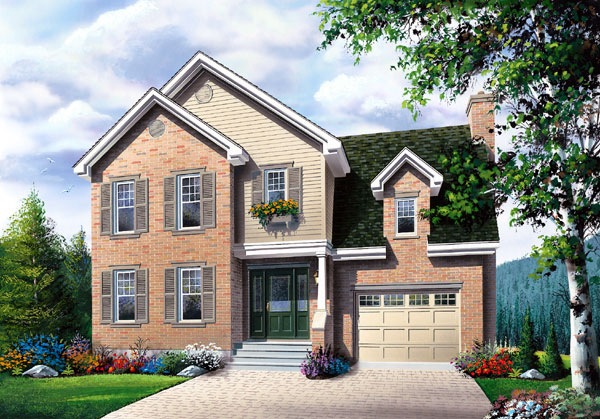 Traditional House Plan 65407 with 3 Beds, 3 Baths, 1 Car Garage Elevation