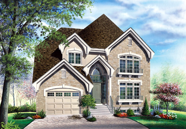 European House Plan 65408 with 3 Beds, 3 Baths, 1 Car Garage Elevation