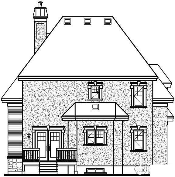 European House Plan 65409 with 3 Beds, 2 Baths, 1 Car Garage Rear Elevation