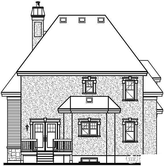 European House Plan 65409 Rear Elevation