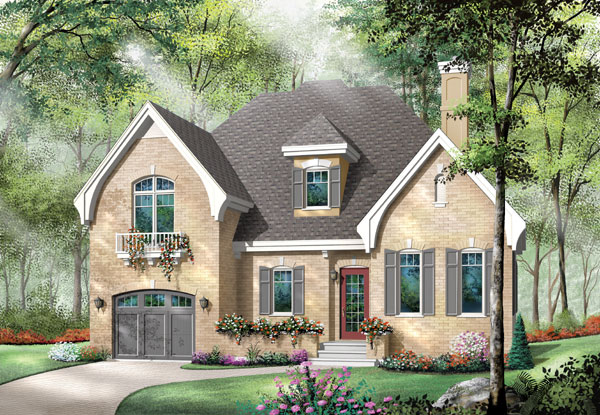 European , Traditional House Plan 65410 with 3 Beds, 2 Baths, 1 Car Garage Elevation