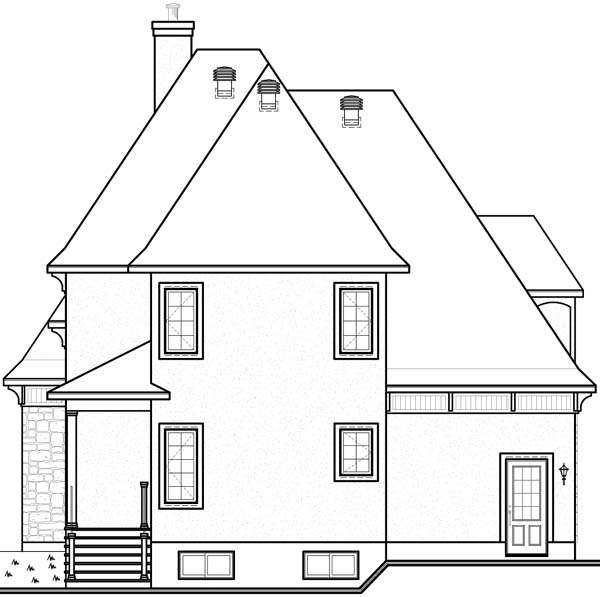 European Tudor House Plan 65413 Rear Elevation