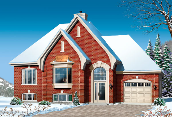 European, Traditional, Tudor House Plan 65414 with 2 Beds, 1 Baths, 1 Car Garage Front Elevation