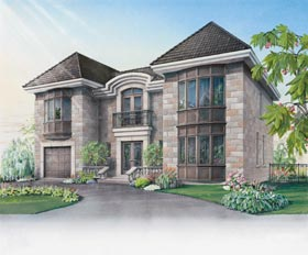 Contemporary, European House Plan 65417 with 3 Beds, 3 Baths, 1 Car Garage Elevation