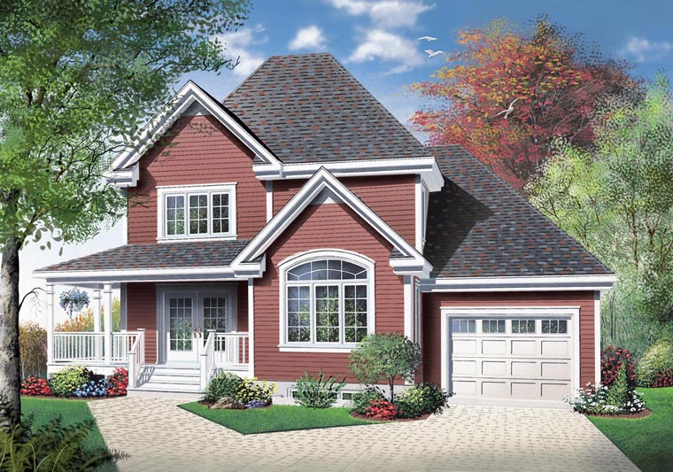 Country House Plan 65418 with 3 Beds, 2 Baths, 1 Car Garage Elevation