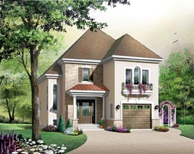 House Plan 65420 | European Style Plan with 1579 Sq Ft, 3 Bedrooms, 2 Bathrooms, 1 Car Garage Elevation