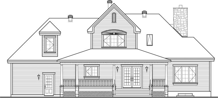 Country Southern House Plan 65426 Rear Elevation