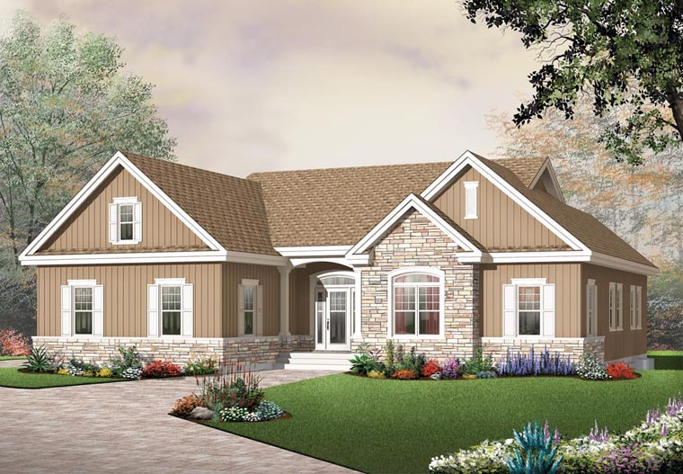 Bungalow Country Craftsman House Plan 65434 Elevation