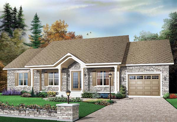 Bungalow House Plan 65437 with 3 Beds, 1 Baths, 1 Car Garage Elevation