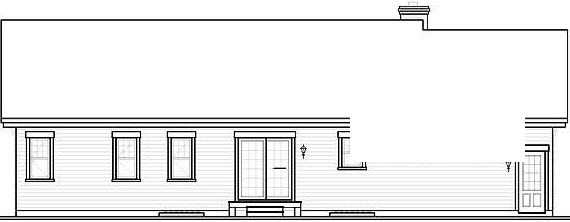 Bungalow House Plan 65438 with 3 Beds, 1 Baths, 1 Car Garage Rear Elevation