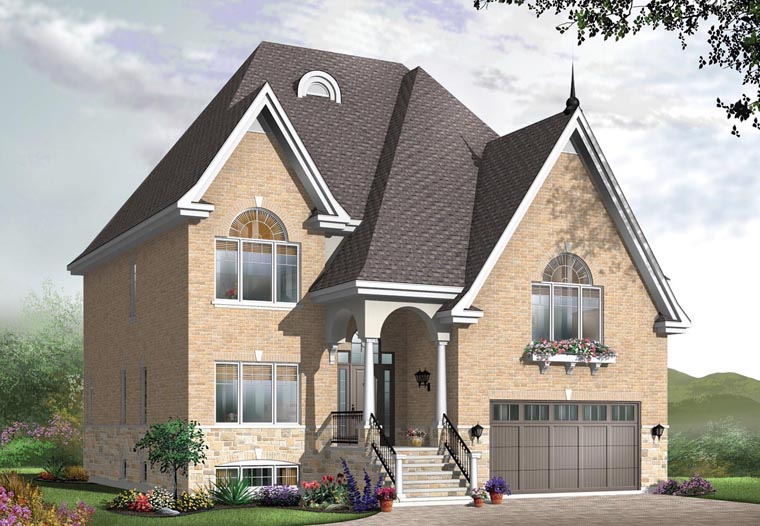 House Plan 65441 | European Traditional Style Plan with 3181 Sq Ft, 5 Bedrooms, 3 Bathrooms, 2 Car Garage Elevation