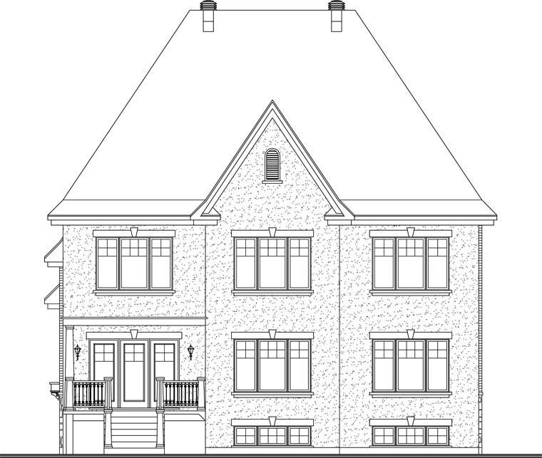 House Plan 65441 | European Traditional Style Plan with 3181 Sq Ft, 5 Bedrooms, 3 Bathrooms, 2 Car Garage Rear Elevation