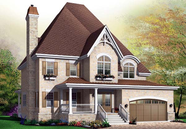Country, European House Plan 65442 with 5 Beds, 4 Baths, 2 Car Garage Elevation