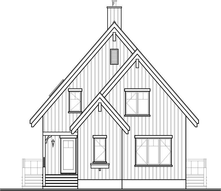 Contemporary, Cottage House Plan 65446 with 3 Beds, 2 Baths Rear Elevation
