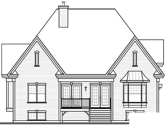 European Traditional House Plan 65447 Rear Elevation