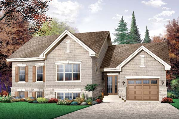 Craftsman, Narrow Lot, One-Story, Traditional House Plan 65449 with 2 Beds , 1 Baths , 1 Car Garage Elevation
