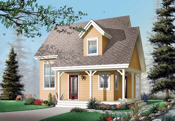 Country, Narrow Lot House Plan 65450 with 2 Beds, 2 Baths Elevation