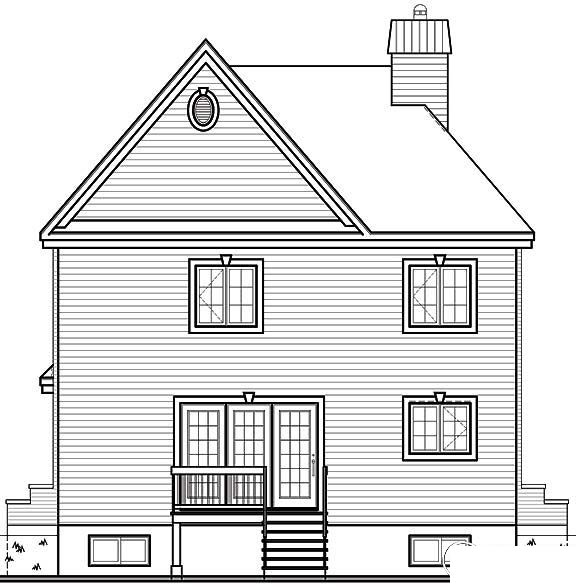 European Traditional House Plan 65453 Rear Elevation