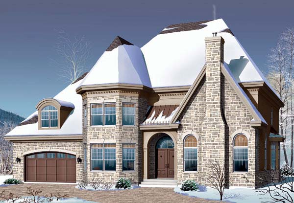 European , Traditional House Plan 65454 with 5 Beds, 3 Baths, 2 Car Garage Elevation