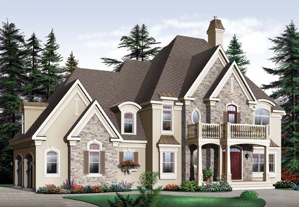 European, Traditional House Plan 65456 with 3 Beds, 3 Baths, 2 Car Garage Elevation