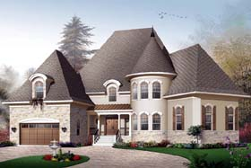 Traditional , European House Plan 65457 with 6 Beds, 4 Baths, 2 Car Garage Elevation