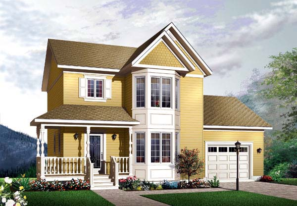 Victorian , Country House Plan 65459 with 3 Beds, 2 Baths, 1 Car Garage Elevation