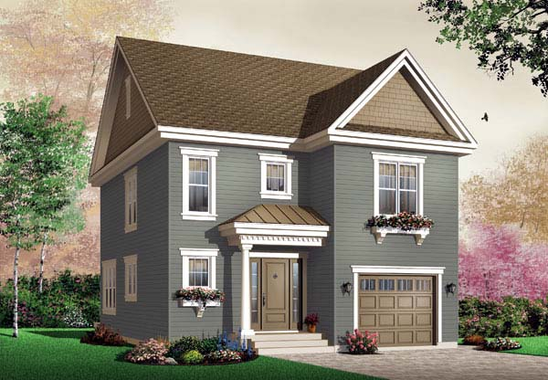 Traditional House Plan 65460 with 3 Beds, 2 Baths, 1 Car Garage Elevation