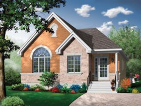 Narrow Lot, Traditional House Plan 65462 with 2 Beds, 1 Baths Elevation