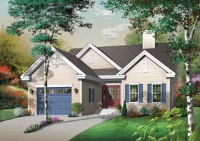 Traditional House Plan 65465 with 3 Beds, 1 Baths, 1 Car Garage Elevation