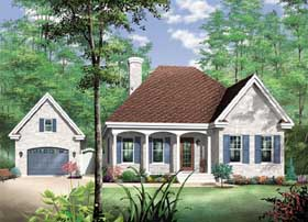 House Plan 65466 | European Style Plan with 1072 Sq Ft, 2 Bedrooms, 1 Bathrooms, 1 Car Garage Elevation