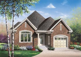 European House Plan 65467 with 2 Beds, 1 Baths, 1 Car Garage Elevation