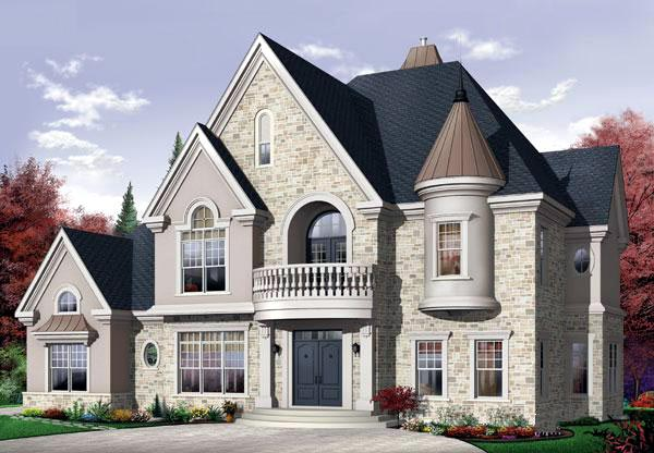 Victorian House Plan 65483 with 4 Beds, 4 Baths, 3 Car Garage Elevation