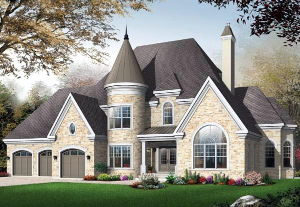 Victorian House Plan 65484 with 3 Beds, 4 Baths, 3 Car Garage Elevation