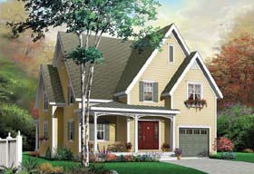 House Plan 65486 | Country European Traditional Style Plan with 1885 Sq Ft, 3 Bedrooms, 2 Bathrooms, 1 Car Garage Elevation