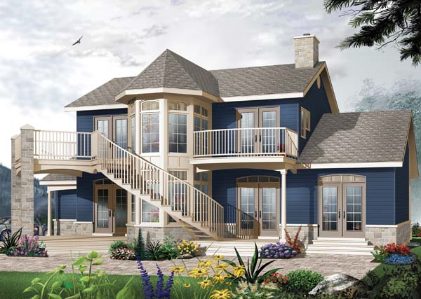 Country, Victorian House Plan 65488 with 4 Beds, 3 Baths, 2 Car Garage Elevation