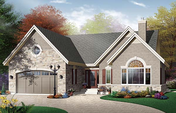 Country European One-Story Elevation of Plan 65491