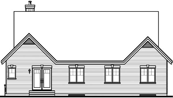 Country European One-Story Rear Elevation of Plan 65491