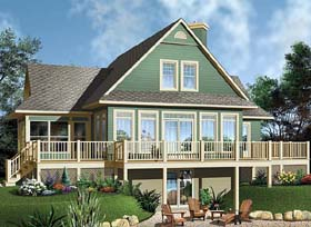 House Plan 65494 | Coastal, Country, Traditional Style House Plan with 1832 Sq Ft, 3 Bed, 2 Bath Elevation