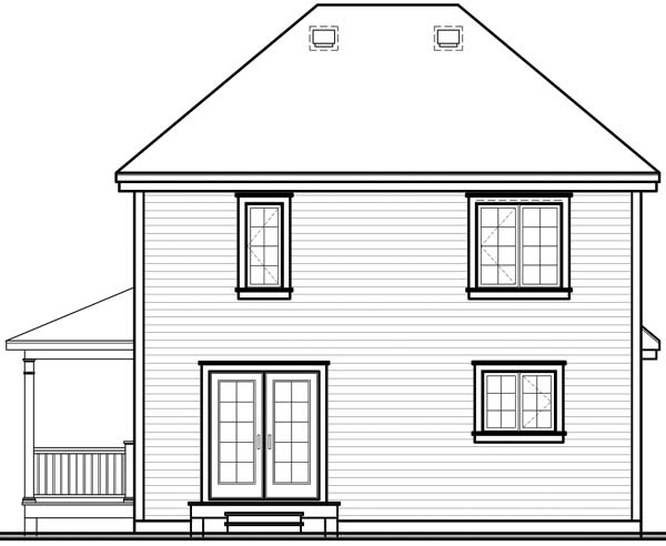 Country Farmhouse Rear Elevation of Plan 65495