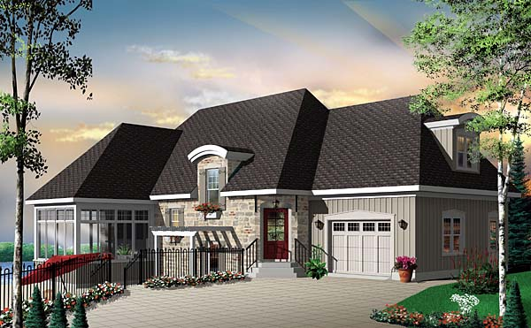Country, European, Traditional House Plan 65498 with 3 Beds, 3 Baths, 1 Car Garage Elevation