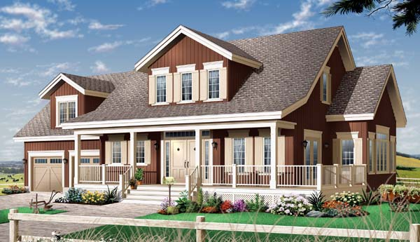 Country Farmhouse Traditional House Plan 65501 Elevation
