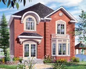 House Plan 65502 | European, Traditional Style House Plan with 1456 Sq Ft, 3 Bed, 2 Bath Elevation