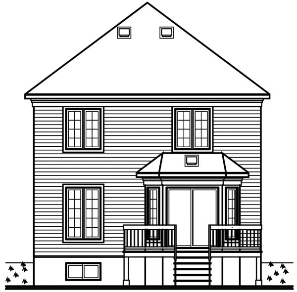 European Traditional House Plan 65502 Rear Elevation